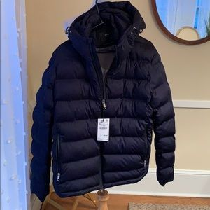 NWT Zara Men's XL Navy Puffer Coat Zippered/Hood